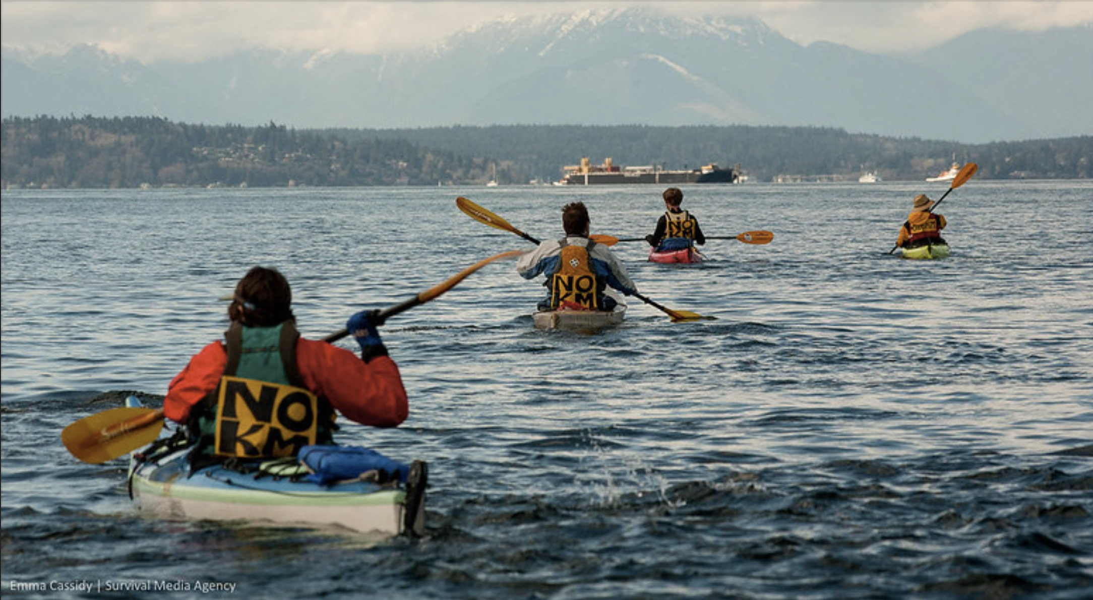 Image of four Indigenous water protectors in kayaks on the water in protest with their backs turned